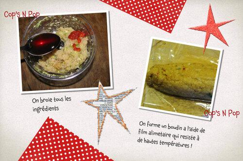 Culino version Janvier 2012: un saucisson de poulet  à la vapeur et aux saveurs d'Asie