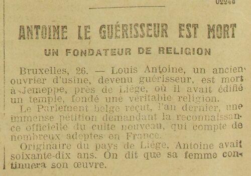 Antoine le Guérisseur est mort (Le Grand écho du Nord de la France 28 juin 1912)
