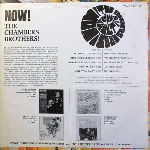 "The Chambers Brothers : Album "" Now !  "" Vault Records SLP 115 [ US ]"
