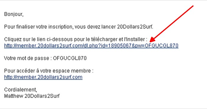 Barre de surf: inscription