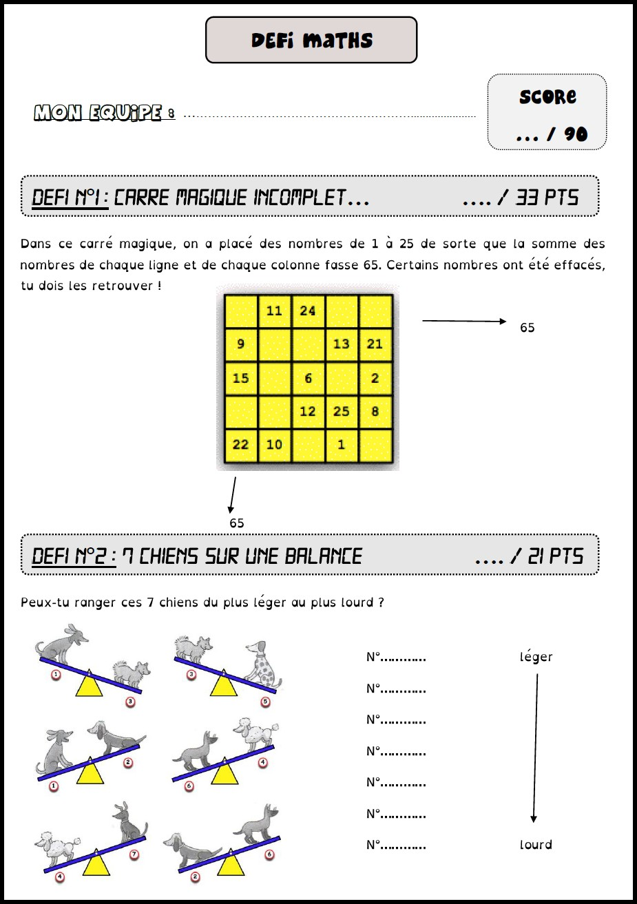 image défi maths 10