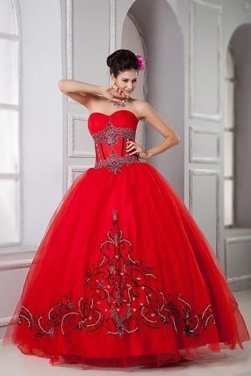 Robe rouge princesse motifs vintage & imprimée bustier cœur