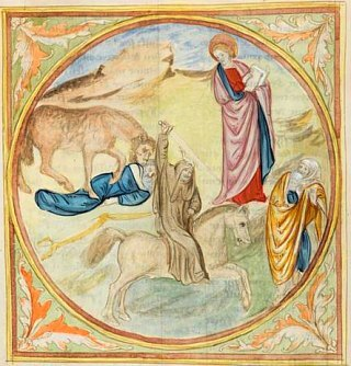 La Bête dévorant un homme (Antéchrist). Extrait de Histoire extraite de la Bible et Apocalypse, XVe siècle