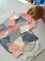 Coeur pastel en patchwork (collage)