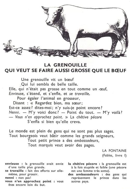 LA GRENOUILLE QUI VEUT SE FAIRE AUSSI GROSSE QUE LE BOEUF (La Fontaine)