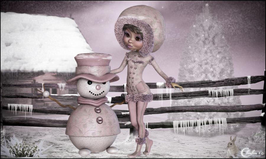 Le Bonhomme de neige Rose