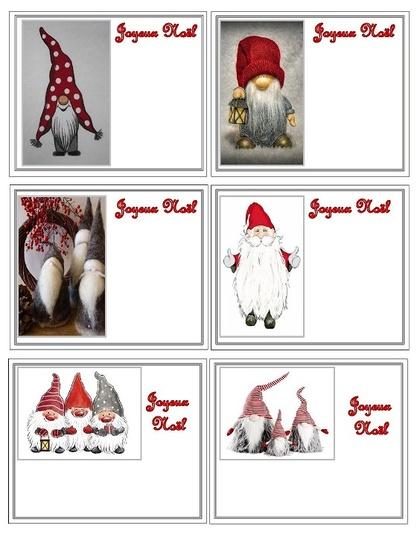 Petites cartes Joyeux Noël .....