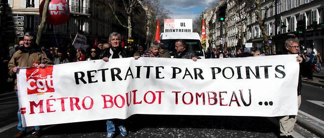 Manifestation unitaire interprofessionnelle contre la reforme des retraites en mars 2019.
