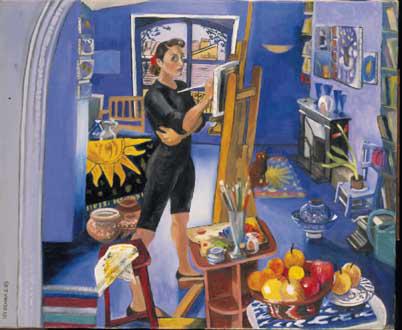 Chat dans la peinture