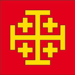 De gueules, à la croix potencée d'or, cantonnée de quatre croisettes du même !