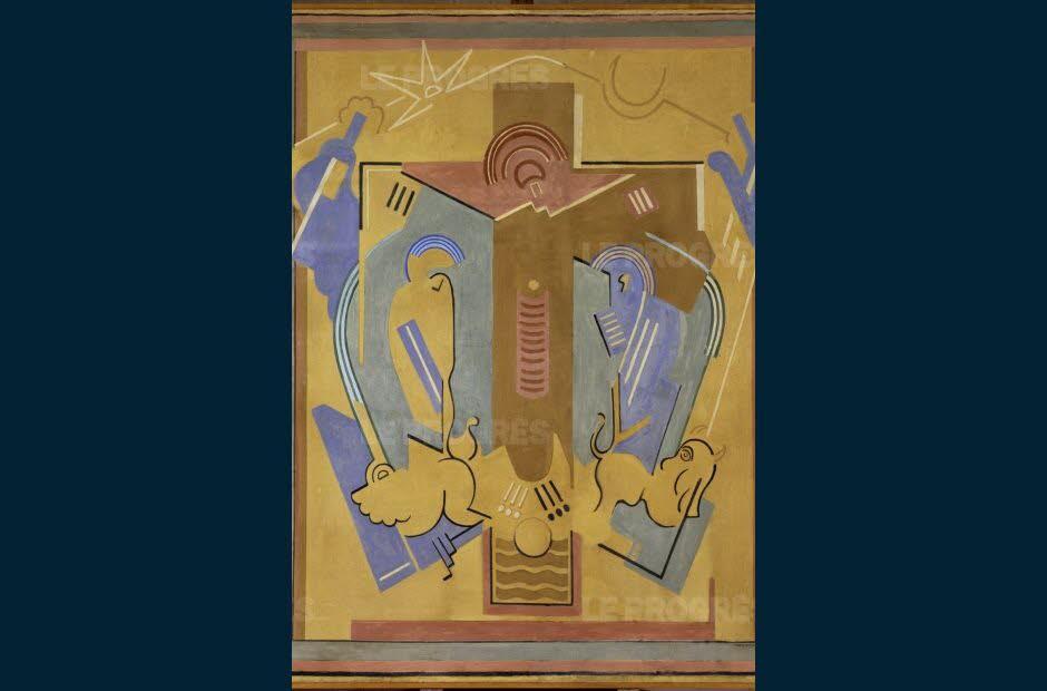 Crucifixion, projet pour l'église Sainte-Blanche de Serrières,                    d'Albert Gleizes.  Collection du centre Pompidou, Paris.  DR