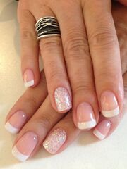 manicure - Bio Sculpture Gel French manicure: #87 - Strawberry French (base colour) #3 - Snow White with iridescent glitter feature nail #nails: