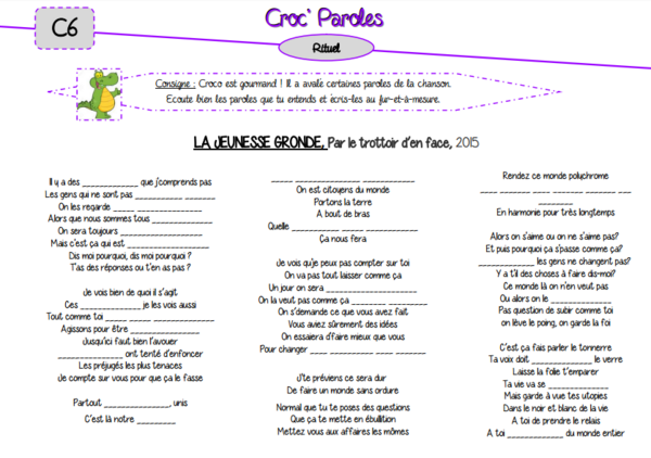 Rituel musical : Croc' Paroles (2ème version)