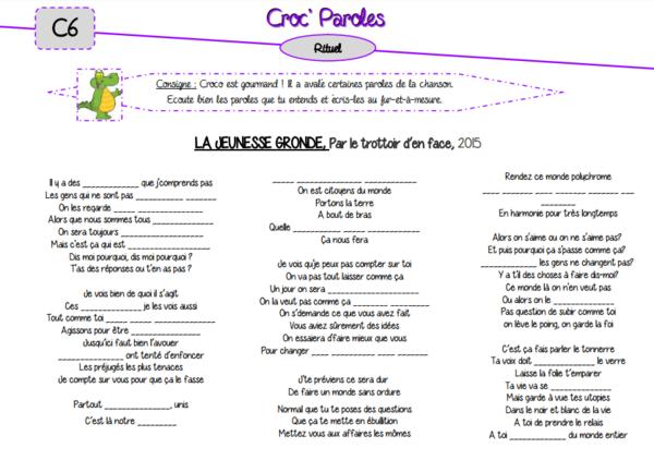 Rituel musical : Croc' Paroles (2ème version)