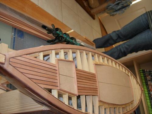 Réalisation du pont, mature et gréement de la maquette du Seabird,cotre aurique, Yacht de 1910