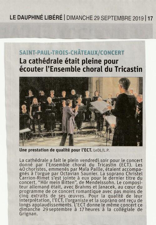 Concert Saint Paul Trois Châteaux 27/9