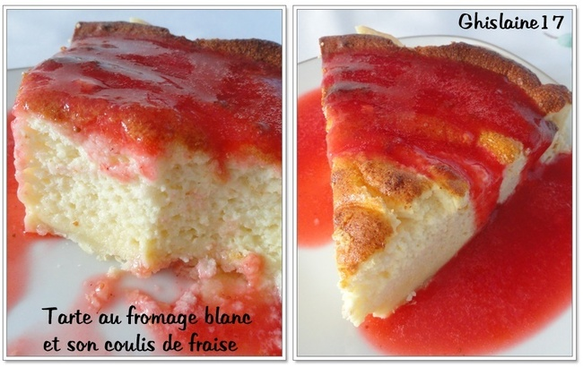 Tarte au fromage blanc et son coulis de fraises