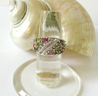 Bague Anneau Pierres naturelles de Tourmaline multicolore et Quartz blanc / Argent 925 - Taille 55 / Size 7,25 US