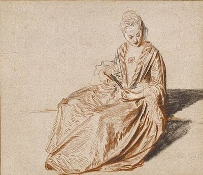 Jean-Antoine Watteau, Seated Woman with a Fan v 1717, Gett