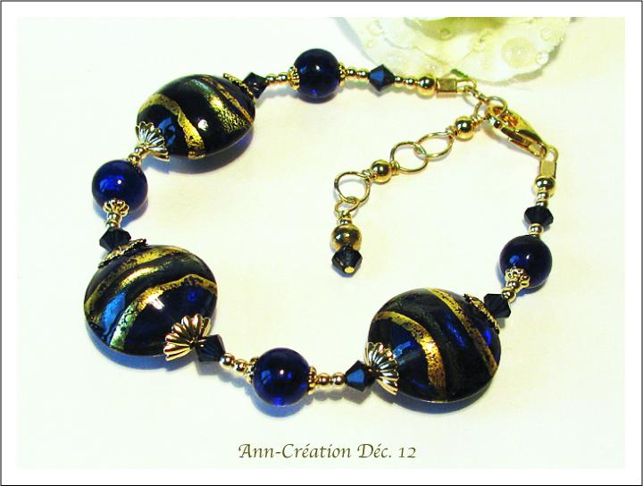Bracelet Bleu Verre de Murano Authentique Feuille d'Or 24 Kt / Plaqué Or & Vermeil