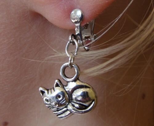 boucles d'oreilles clip chat
