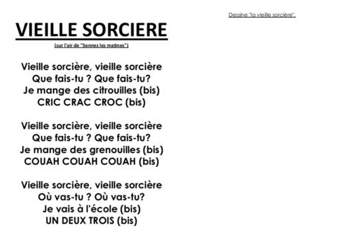 """Comptine MS-GS """"Vieille sorcière"""""""