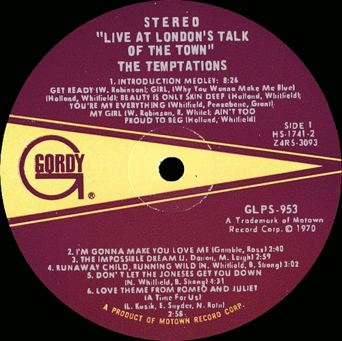 "The Temptations : Album "" Live ! At London's Talk Of The Town "" Gordy Records GLPS 953 [ US ]"