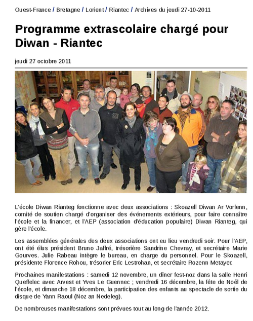 Programme extrascolaire chargé pour Diwan - Riantec