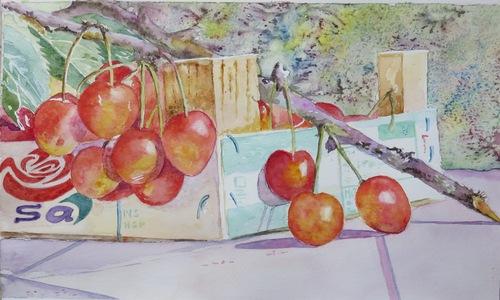 Cageot de erises (aquarelle)