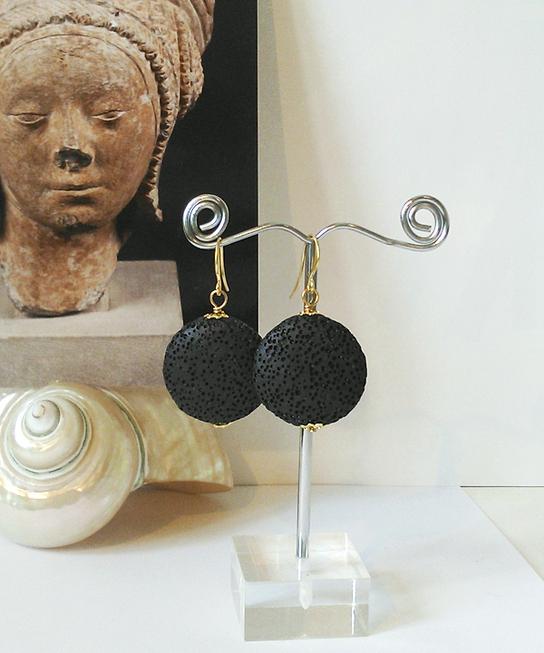 Boucles d'oreilles Pierre de Lave noire, lentilles 25mm, Plaqué Or mat