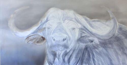 Dessin et peinture - vidéo 1933 : Réalisation à la peinture à l'huile du portrait menaçant d'un buffle dans la savane africaine.
