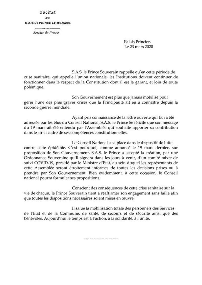 Annonce de Monaco