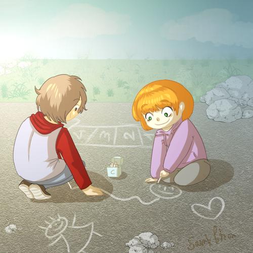 Deux enfants qui dessinent
