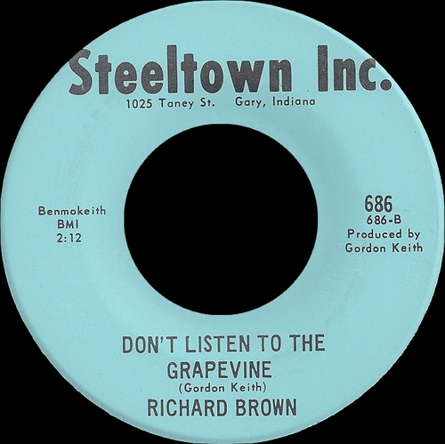 Richard Brown : Single SP Steeltown Inc. Records  686 [ US ]