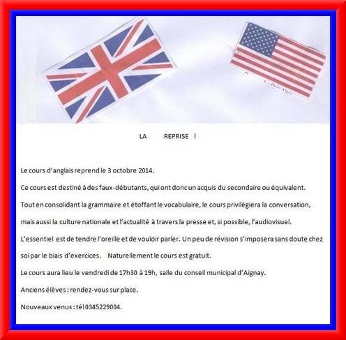 Les cours d'anglais gratuits reprennent à Aignay le Duc !