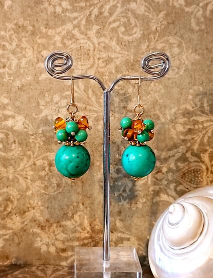 Boucles d'oreilles Grappe pierre de turquoise, ambre de la Baltique / Plaqué or 14 kt gold filled