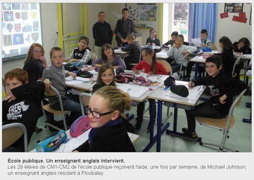 LE TÉLÉGRAMME - 23/10/2012 - Un enseignant anglais intervient.