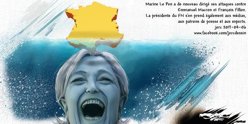 dessin de JERC jeudi 6 avril 2017 caricature Marine Le Pen Les dents de la fille www.facebook.com/jercdessin