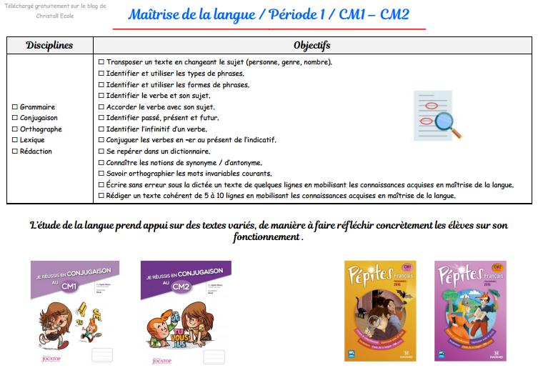 Francais Cm1 Cm2 Sequences Evaluations 2018 2019 Christall Ecole