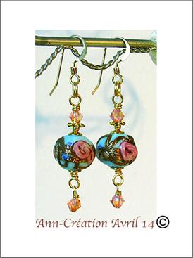 2 - Boucles Perles de Venise anciennes Bleu ciel, Rose et Or / Plaqué Or 14 kt Gold Filled