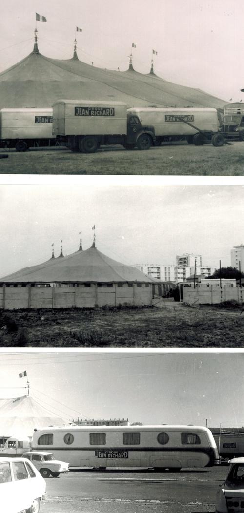 Montage du cirque Jean Richard à Bourg en Bresse en 1968