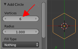 Réduire le nombre de vertices du cercle à 6