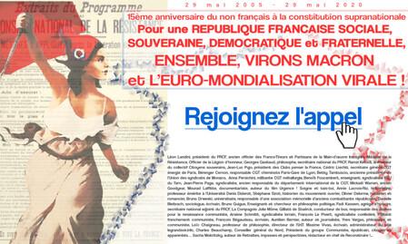 Pétition : Pour une REPUBLIQUE FRANCAISE SOCIALE, SOUVERAINE, DEMOCRATIQUE et FRATERNELLE, ENSEMBLE, VIRONS MACRON et L'EURO-MONDIALISATION VIRALE !