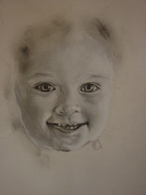 Portrait enfant en cours de réalisation.
