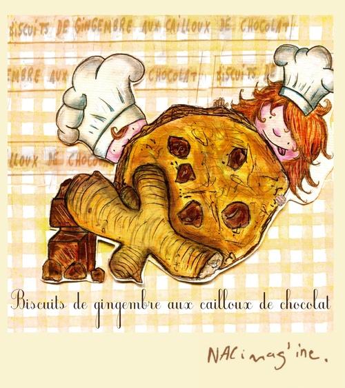 Biscuits de gingembre aux cailloux de chocolat
