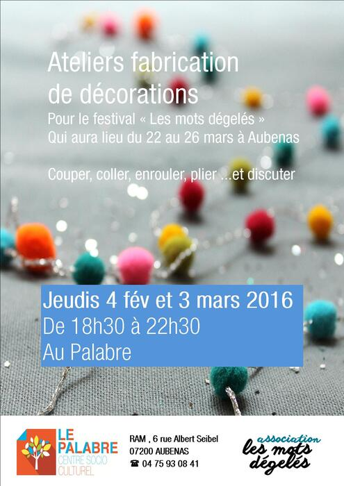 Affiche ateliers décoration !