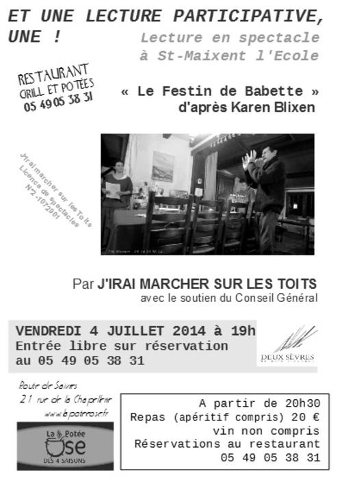 un festin de mots le 4 juillet à St Maixent !