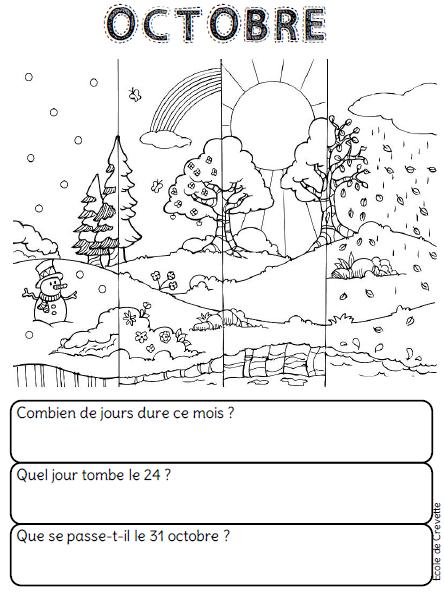 Coloriage Fete De Lecole.Les Mois De L Annee L Ecole De Crevette