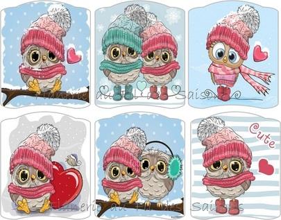 Hibous en hiver - cartonnettes !