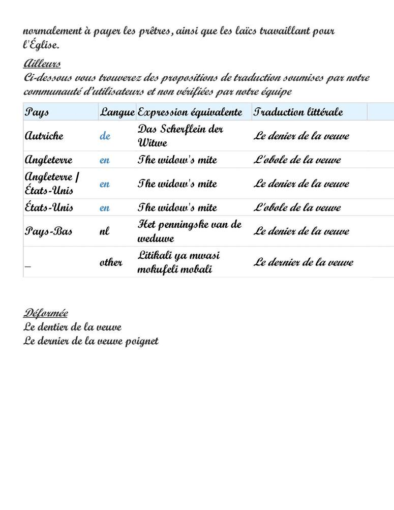 Expression du Jour 2:  Le denier de la veuve (2 pages)